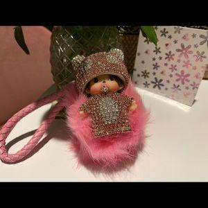 Bling pompom plush keychain best graduation gift